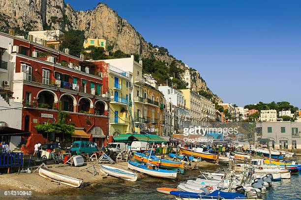 Marina, Boats, Gorgeous Waterfront Street and Mountains, Capri, Italy.