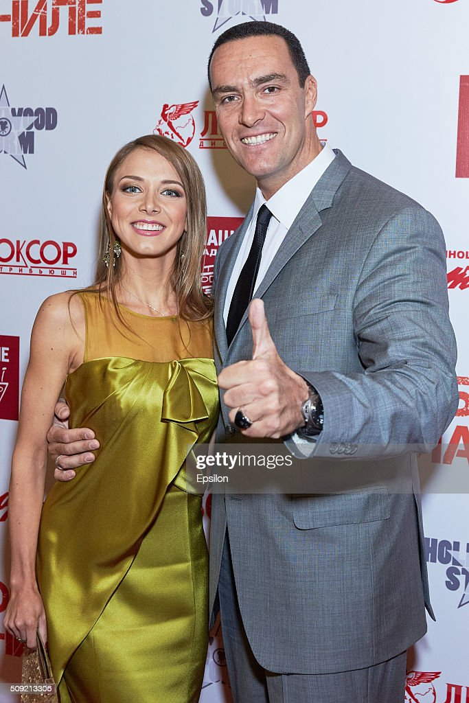 Marina Brovikova and Alexander Nevsky attend 'Showdown in Manila' premiere in October cinema hall on February 9, 2016 in Moscow, Russia.
