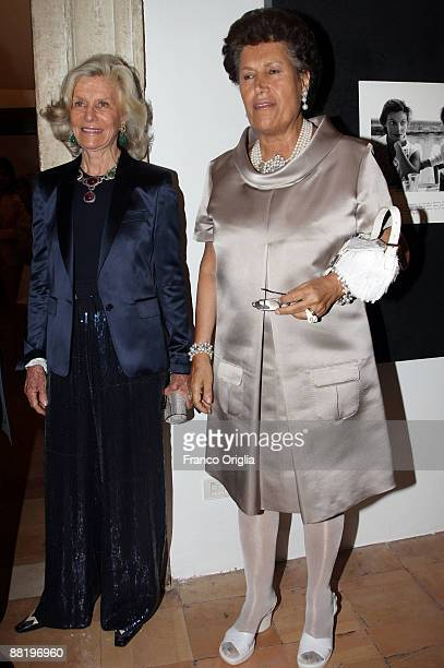 Marina Cicogna and Carla Fendi attend Marina Cicogna Opening Exhibition at Villa Medici on June 3 2009 in Rome Italy