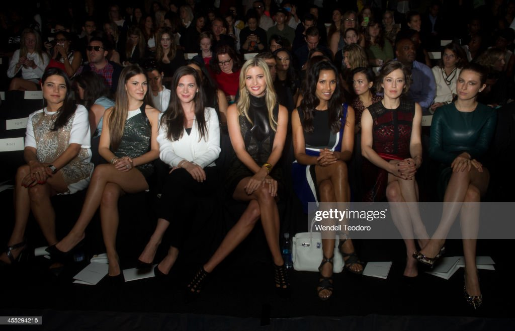 Marina Clayton Lauren Gores Rochelle Gores Ivanka Trump Padma Lakshmi Carrie Coon and Tali Lennox attends J Mendel during MercedesBenz Fashion Week...
