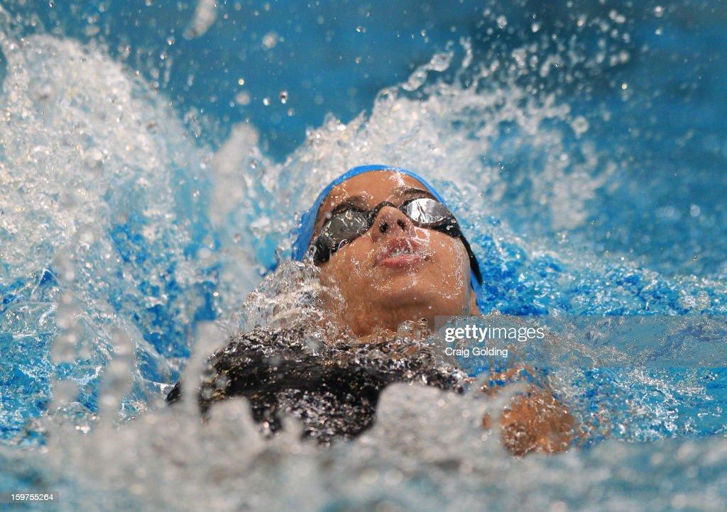 Marina De O Nascimento of Brazil swims the backstroke leg during the W 400 Medley Relay Swimming Finals at the Aquatic Centre at Sydney Olympic Park Sports Centre on January 20, 2013 in Sydney, Australia.