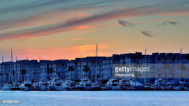 Marina Del Rey at sunset, Los Angeles, USA