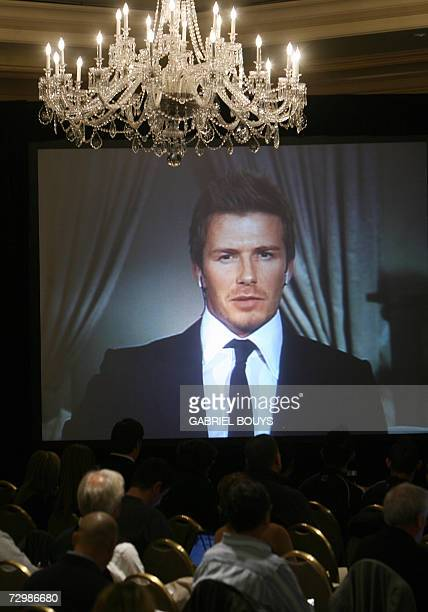 British soccer star David Beckham gives a press conference live via satellite from Madrid for US media 12 January 2007 in Marina Del Rey California...