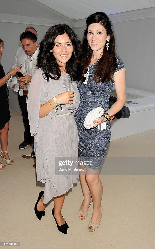 Marina Diamandis (L) and sister Lafina Diamandis attend the Boujis tent at the Audi International Polo day at Guards Polo Club on July 28, 2013 in Egham, England.
