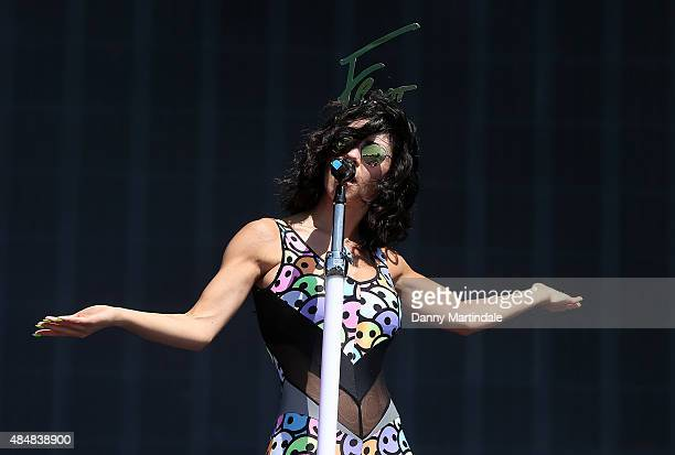 Marina Diamandis of Marina and the Diamonds performs on Day 1 of the V Festival at Hylands Park on August 22 2015 in Chelmsford England