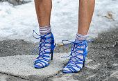 Marina Dobreva is seen outside the Honor show wearing Zara heels on February 12 2015 in New York City