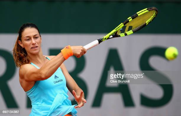 Marina DuqueMarino of Columbia plays a forehand during the ladies singles third round match against Veronica Cepede Royg of Paraguay on day eight of...