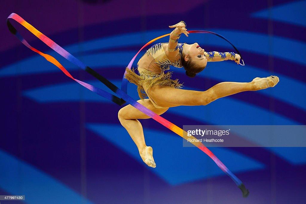 Marina Durunda of Azerbaijan competes during the Rhythmic Gymnastics Individual Ribbon final on day nine of the Baku 2015 European Games at the...
