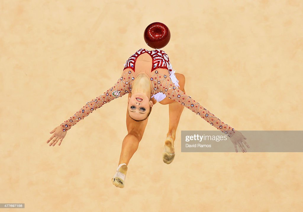 <a gi-track='captionPersonalityLinkClicked' href=/galleries/search?phrase=Marina+Durunda&family=editorial&specificpeople=10965350 ng-click='$event.stopPropagation()'>Marina Durunda</a> of Azerbaijan competes in the Rhythmic Gymnastics Inidivdual All-Around Final during day seven of the Baku 2015 European Games at the National Gymnastics Arena on June 19, 2015 in Baku, Azerbaijan.