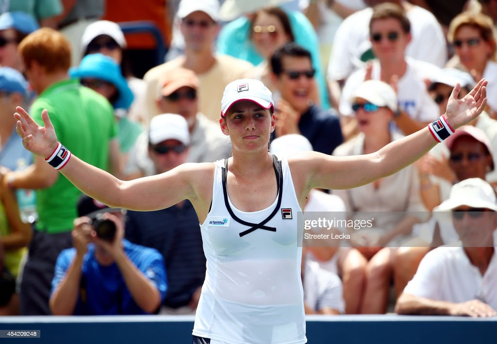 Marina Erakovic of New Zealand celebrates after defeating Svetlana Kuznetsova of Russia on Day Two of the 2014 US Open at the USTA Billie Jean King National Tennis Center on August 26, 2014 in the Flushing neighborhood of the Queens borough of New York City.