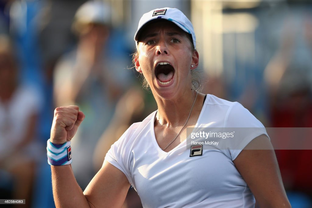 <a gi-track='captionPersonalityLinkClicked' href=/galleries/search?phrase=Marina+Erakovic&family=editorial&specificpeople=2229236 ng-click='$event.stopPropagation()'>Marina Erakovic</a> of New Zealand celebrates in her first round match against Sorana Cirstea of Romania during day two of the 2014 Australian Open at Melbourne Park on January 14, 2014 in Melbourne, Australia.