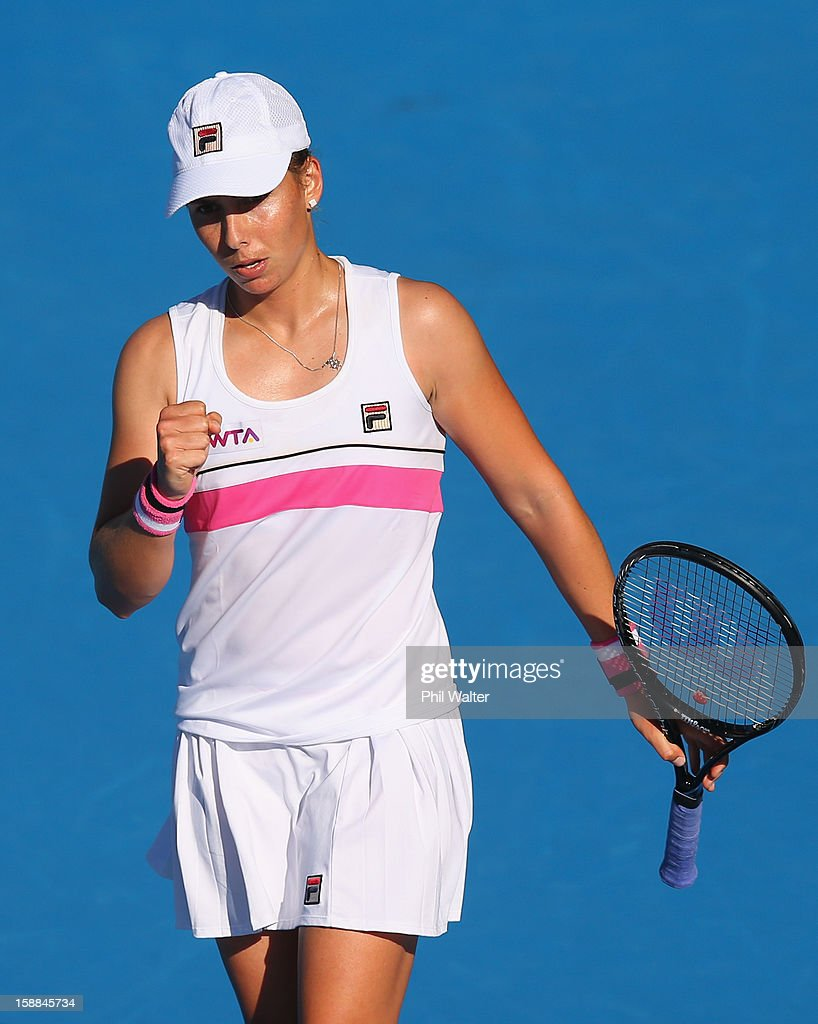Marina Erakovic of New Zealand celebrates match point in her first round match against Stephanie Dubois of Canada during day two of the 2013 ASB Classic on January 1, 2013 in Auckland, New Zealand.