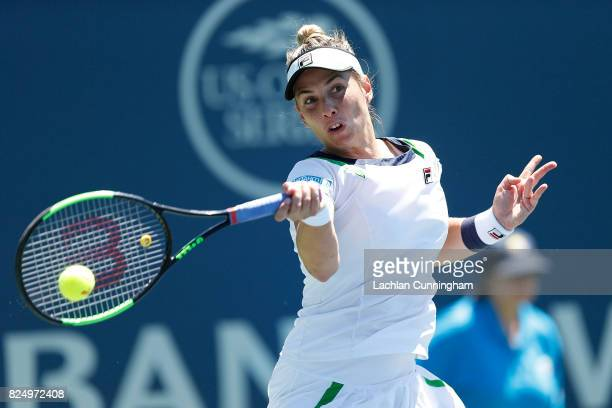 Marina Erakovic of New Zealand competes against Ana Konjuh of Croatia during day 1 of the Bank of the West Classic at Stanford University Taube...