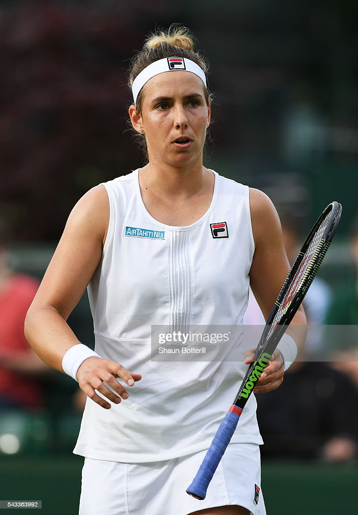 <a gi-track='captionPersonalityLinkClicked' href=/galleries/search?phrase=Marina+Erakovic&family=editorial&specificpeople=2229236 ng-click='$event.stopPropagation()'>Marina Erakovic</a> of New Zealand looks on during the Ladies Singles first round match against Irina Falconi of the United States on day one of the Wimbledon Lawn Tennis Championships at the All England Lawn Tennis and Croquet Club on June 27th, 2016 in London, England.
