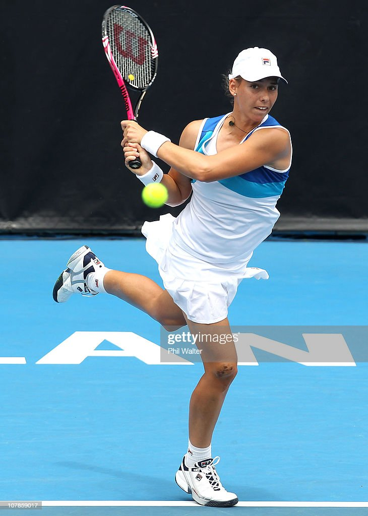 Marina Erakovic of New Zealand plays a backhand during her match against Elena Vesnina of Russia during day two of the ASB Classic at the ASB Tennis Centre on January 4, 2011 in Auckland, New Zealand.