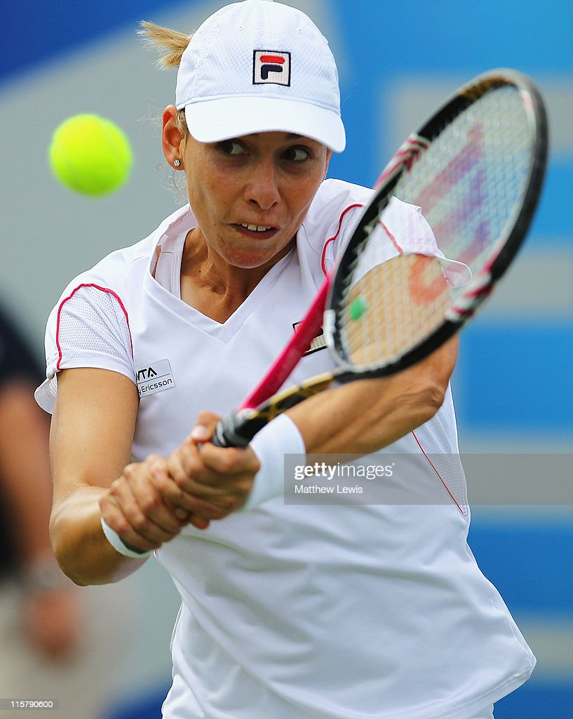 Marina Erakovic of New Zealand plays a backhand during her match against Shuai Peng of China during the fifth day of the AEGON Classic at the Edgbaston Priory Club on June 10, 2011 in Birmingham, England.