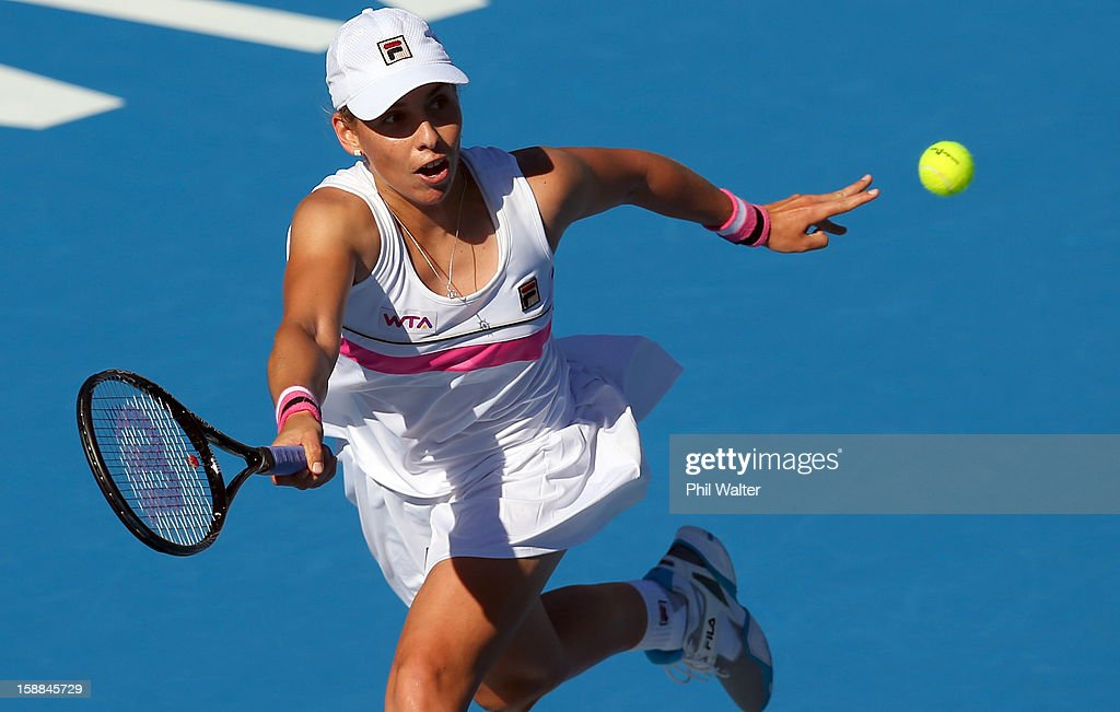 Marina Erakovic of New Zealand plays a forehand in her first round match against Stephanie Dubois of Canada during day two of the 2013 ASB Classic on January 1, 2013 in Auckland, New Zealand.