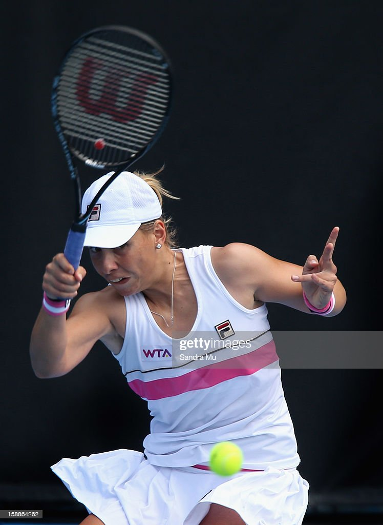Marina Erakovic of New Zealand plays a forehand in her second round match against Jamie Hampton of USA during day three of the 2013 ASB Classic on January 2, 2013 in Auckland, New Zealand.