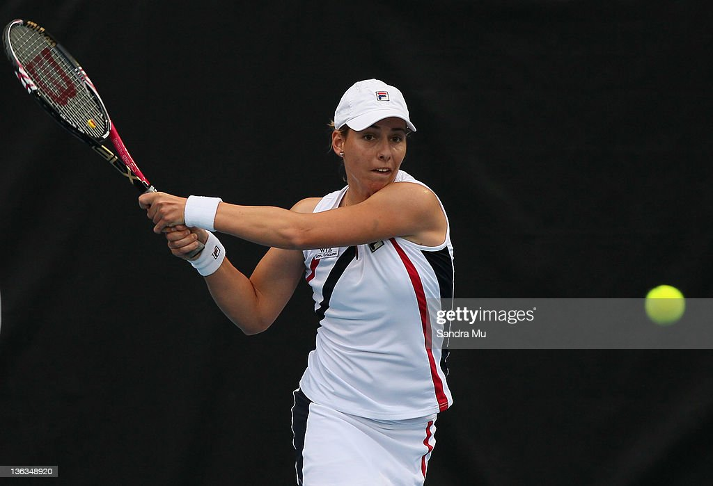 Marina Erakovic of New Zealand plays a shot in her match against Angelique Kerber of Germany during day two of the 2012 ASB Classic at ASB Tennis Centre on January 3, 2012 in Auckland, New Zealand.