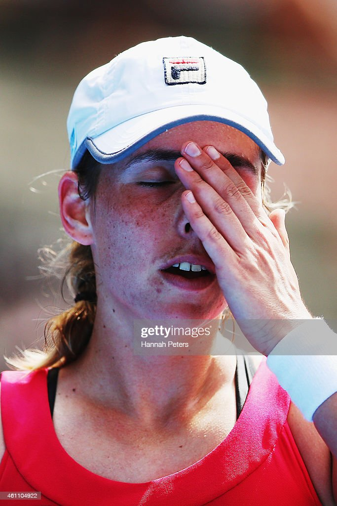 Marina Erakovic of New Zealand reacts after losing the first set during her match against Barbora Zahlavova Strycova of Czech Republic during day three of the 2015 ASB Classic at ASB Tennis Centre on January 7, 2015 in Auckland, New Zealand.