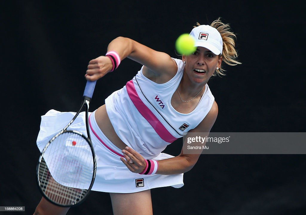 Marina Erakovic of New Zealand serves in her second round match against Jamie Hampton of USA during day three of the 2013 ASB Classic on January 2, 2013 in Auckland, New Zealand.
