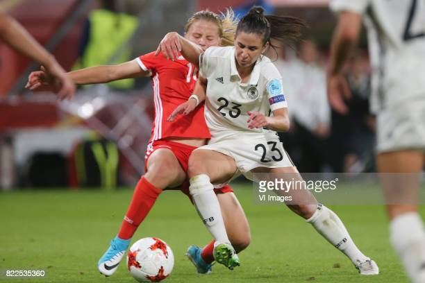 Marina Fedorova of Russia women Hasret Kayikci of Germany women during the UEFA WEURO 2017 Group B group stage match between Russia and Germany at...