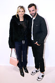 Marina Fois and Fashion Designer Nicolas Ghesquiere pose Backstage after the Louis Vuitton show as part of the Paris Fashion Week Womenswear...