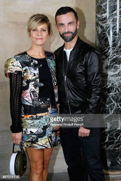 Marina Fois and stylist Nicolas Ghesquiere pose after the Louis Vuitton show as part of the Paris Fashion Week Womenswear Spring/Summer 2018 on...