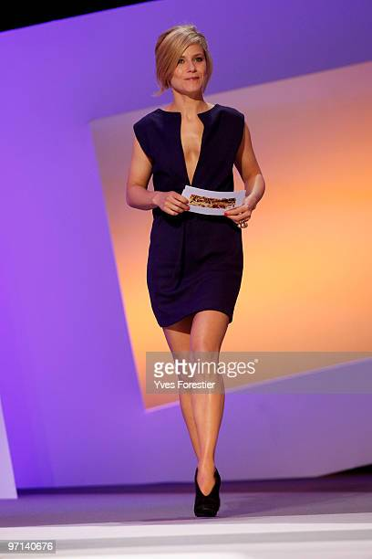 Marina Fois arrives onstage during the 35th Cesar Film Awards held at Theatre du Chatelet on February 27 2010 in Paris France
