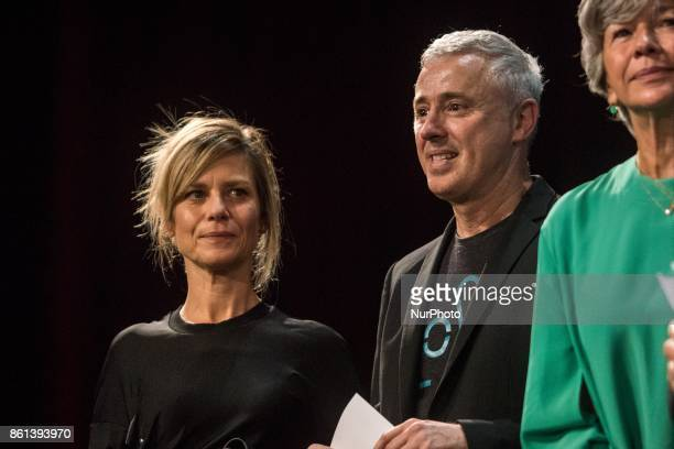 Marina Fois Robin Campillo during opening ceremony of 9th Film Festival Lumiere In Lyon on October 14 2017 in Lyon France