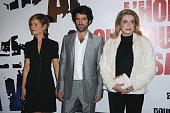 Marina Fois Romain Duris and Catherine Deneuve attend the premiere for 'L'homme Qui Voulait Vivre Sa Vie' at Cinema Gaumont Marignan on October 28...