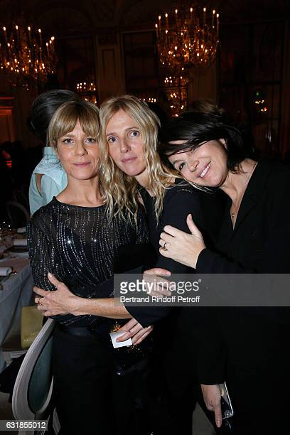 Marina Fois Sandrine Kiberlain and Zabou Breitman attend the 'Cesar Revelations 2017' Dinner at Hotel Meurice on January 16 2017 in Paris France