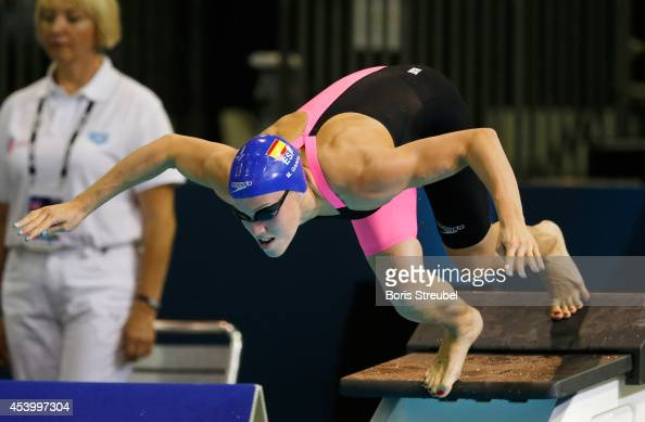 Marina Garcia Urzainqui of Spain takes the start of the women's 50m breaststroke heats during day 11 of the 32nd LEN European Swimming Championships...