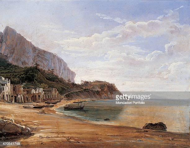 'Marina Grande in Capri by Sil'vestr Feodosievi edrin 19th Century oil on canvas Private collection Whole artwork view View of the desert beach of...