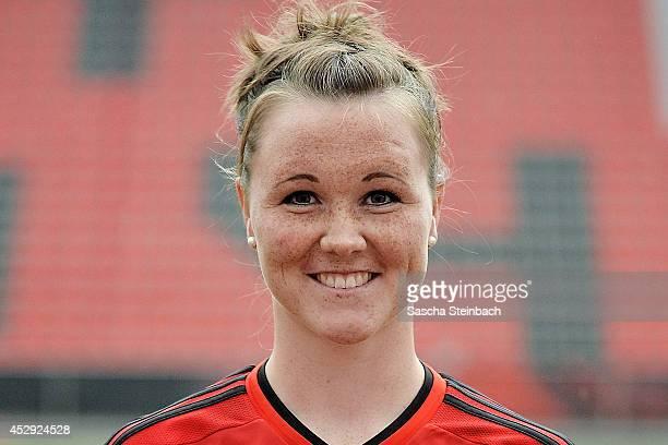 Marina Hegering poses during Bayer Leverkusen women's team presentation at BayArena on July 28 2014 in Leverkusen Germany