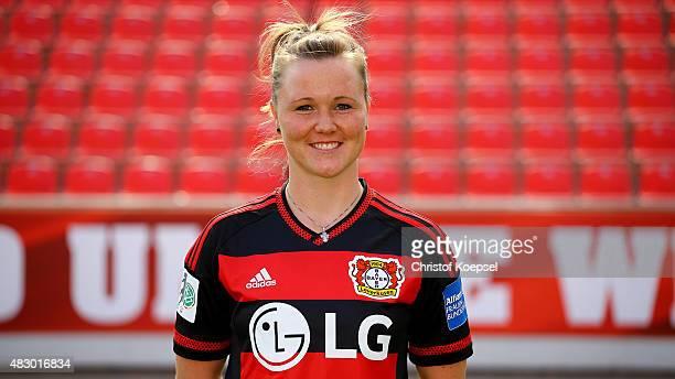 Marina Hegering poses during the Bayer Leverkusen Women's team Presentation at BayArena on August 5 2015 in Leverkusen Germany