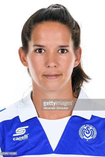Marina Himmighofen of MSV Duisburg poses during the Allianz Frauen Bundesliga Club Tour at MSV Duisburg on August 17 2017 in Duisburg Germany