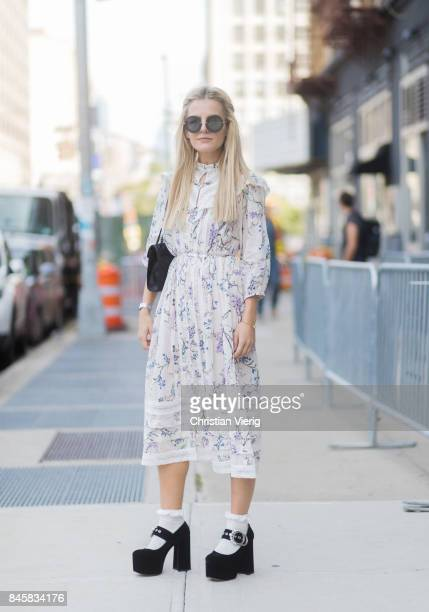 Marina Ilic wearing a dress platform sandals seen in the streets of Manhattan outside Zimmermann during New York Fashion Week on September 11 2017 in...