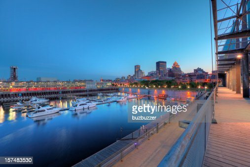 Marina in the old port of Montreal at night : Stock Photo