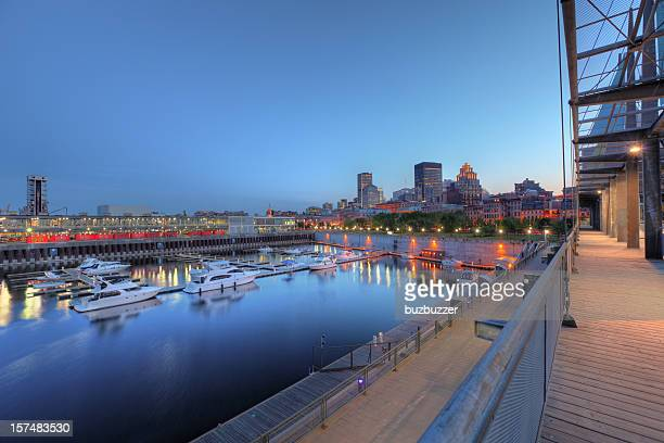 Marina in the old port of Montreal at night