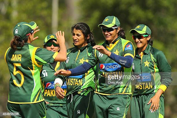 Marina Iqba of Pakistan celebrates after taking a catch to dismiss Ellyse Perry of Australia during the women's international series T20 match...