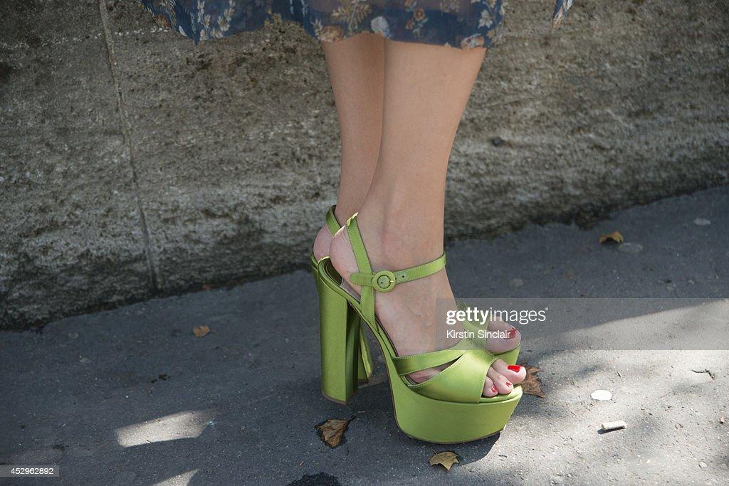Marina Iziloua wearing Prada shoes day 3 of Paris Haute Couture Fashion Week Autumn/Winter 2014 on July 8 2014 in Paris France