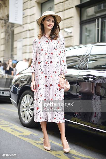 Marina Izilova poses wearing an Ulyana Sergeenko dress before the Elie Saab show at Rue Cambon on July 8 2015 in Paris France