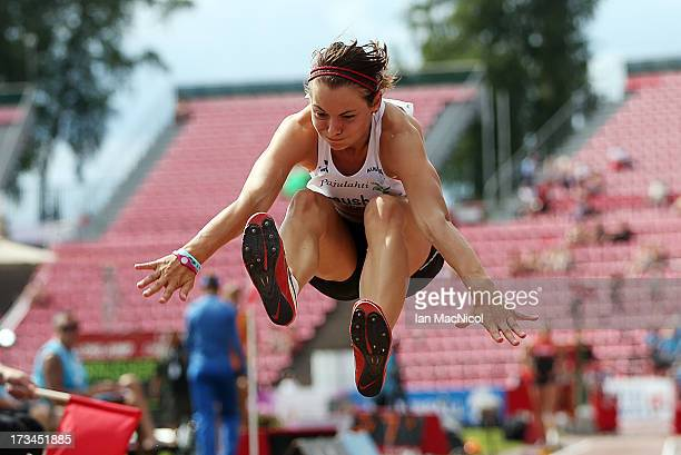 Marina Kraushofer of Austria competes in the final of the Women's Long Jump during day four of The European Athletics U23 Championships 2013 on July...