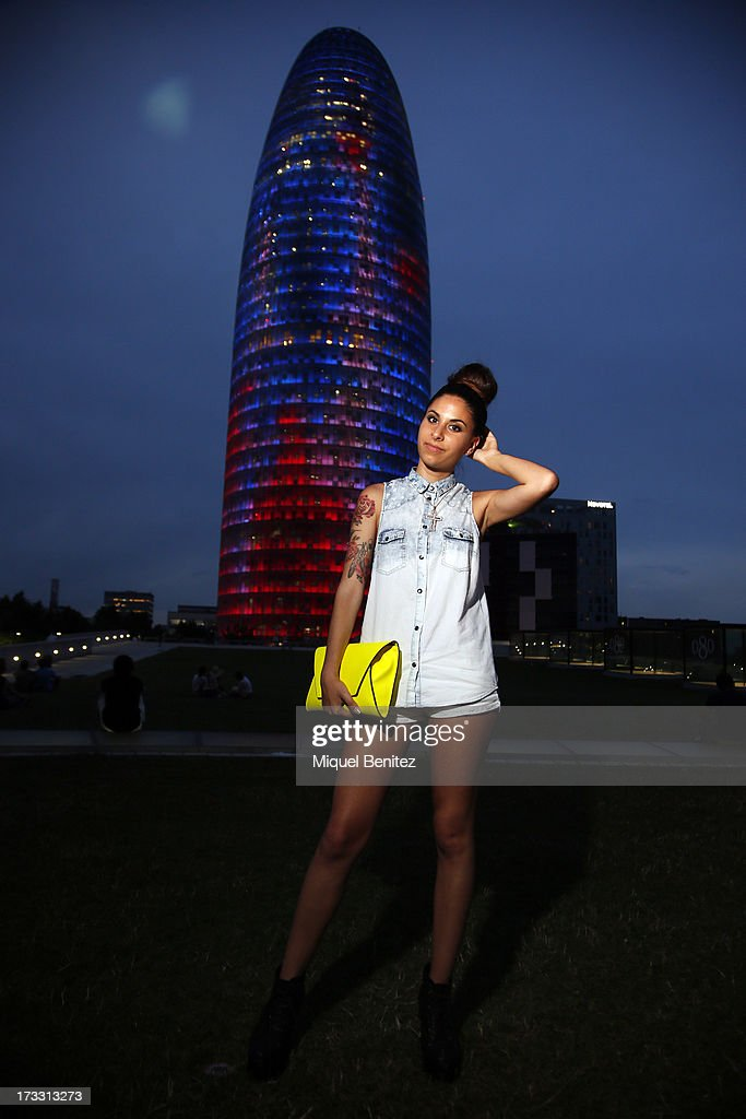 Bershka shirt, Zara handbag, Jeffrey Campbell shoes and a vintage necklace at the 080 Barcelona Fashion Week Spring/Summer 2014 on July 11, 2013 in Barcelona, Spain.