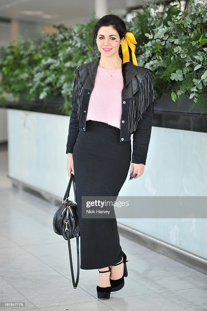 Marina Lambrini Diamandis attends the Kinder Aggugini salon show during London Fashion Week Fall/Winter 2013/14 at on February 17, 2013 in London, England.
