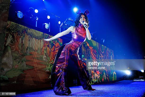 Marina Lambrini Diamandis of Marina and the Diamonds performs live on stage at The Roundhouse on February 21 2016 in London England