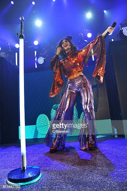 Marina Lambrini Diamandis of Marina and the Diamonds performs on stage at the Roundhouse on February 20 2016 in London England