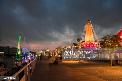 Marina lit up with Christmas lights. Yokohama, Kanagawa Prefecture, Japan : Stock Photo