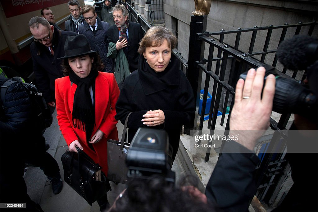 <a gi-track='captionPersonalityLinkClicked' href=/galleries/search?phrase=Marina+Litvinenko&family=editorial&specificpeople=4064987 ng-click='$event.stopPropagation()'>Marina Litvinenko</a>, the widow of former KGB agent <a gi-track='captionPersonalityLinkClicked' href=/galleries/search?phrase=Alexander+Litvinenko&family=editorial&specificpeople=2926201 ng-click='$event.stopPropagation()'>Alexander Litvinenko</a> leaves the High Court after attending the first day of the inquiry into her husbands death on January 27, 2015 in London, England. <a gi-track='captionPersonalityLinkClicked' href=/galleries/search?phrase=Alexander+Litvinenko&family=editorial&specificpeople=2926201 ng-click='$event.stopPropagation()'>Alexander Litvinenko</a>, a vocal critic of Russian President Vladimir Putin, was poisoned with the radioactive isotope polonium-210 while drinking tea at a hotel in London in 2006.